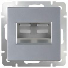 Розетка двойная Ethernet RJ-45 без рамки Werkel Серебряный WL06-RJ45+RJ45