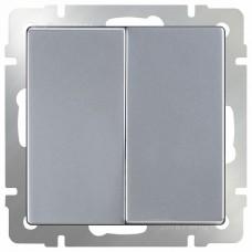 Выключатель двухклавишный без рамки Werkel Серебряный WL06-SW-2G