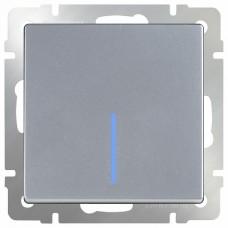 Выключатель проходной одноклавишный с подсветкой без рамки Werkel Серебряный WL06-SW-1G-2W-LED
