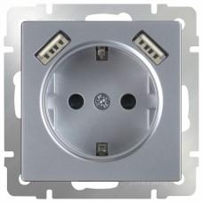 Розетка с заземлением, шторками и 2хUSB, без рамки Werkel Серебряный WL06-SKGS-USBx2-IP20
