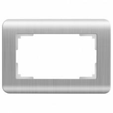 Рамка для двойной розетки Werkel Серебряный рифленый WL12-Frame-01-DBL