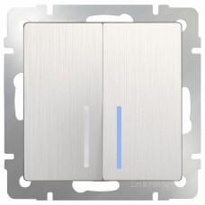 Выключатель двухклавишный с подсветкой без рамки Werkel WL13 WL13-SW-2G-LED