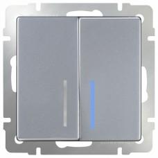 Выключатель проходной двухклавишный с подсветкой без рамки Werkel Серебряный WL06-SW-2G-2W-LED