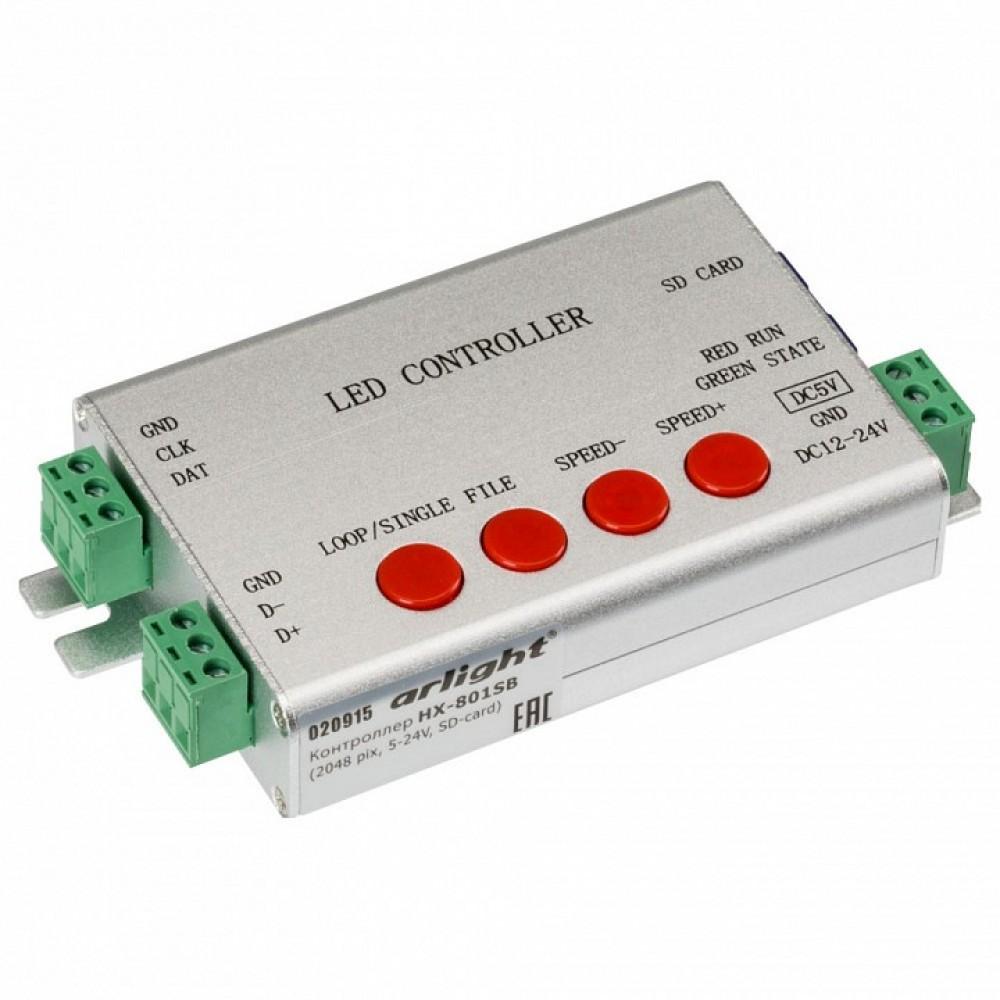 Контроллер-регулятор цвета RGB Arlight HX-801S HX-801SB (2048 pix, 5-24V, SD-card)