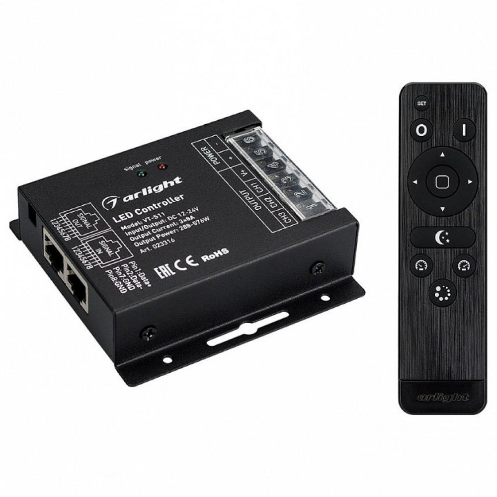 Контроллер-регулятор цвета RGB с пультом ДУ Arlight VT-S11 VT-S11-3x8A (12-24V, ПДУ Стик 12кн, RF)