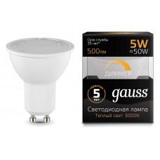 Лампа светодиодная Gauss 1015 GU10 5Вт 2700K 101506105-D