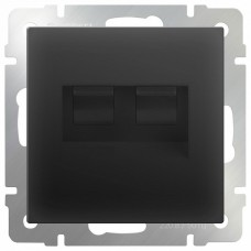 Розетка двойная Ethernet RJ-45 без рамки Werkel Черный матовый WL08-RJ45+RJ45