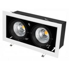 Встраиваемый светильник Arlight CL-KARDAN-S375x190-2x25W Warm3000 (WH-BK, 30 deg) 028863