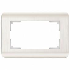Рамка для двойной розетки Werkel Перламутровый рифленый WL12-Frame-01-DBL