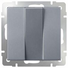 Выключатель трехклавишный без рамки Werkel Серебряный WL06-SW-3G