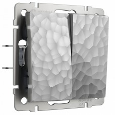 Выключатель двухклавишный без рамки Werkel W1220006 (серебряный)