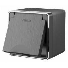 Розетка влагозащищенная с заземлением и шторками с крышкой Werkel Gallant (графит рифленый) W5071204